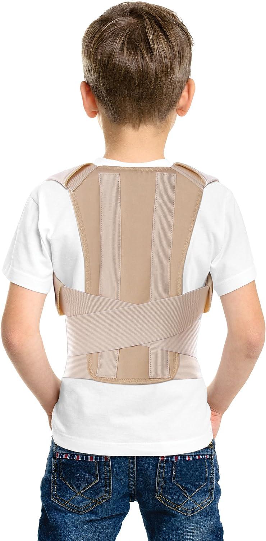 TOROS-GROUP - Corrector Postura y Soporte para Espalda para Niños, Adolescentes y Adultos Jóvenes Medium Beige