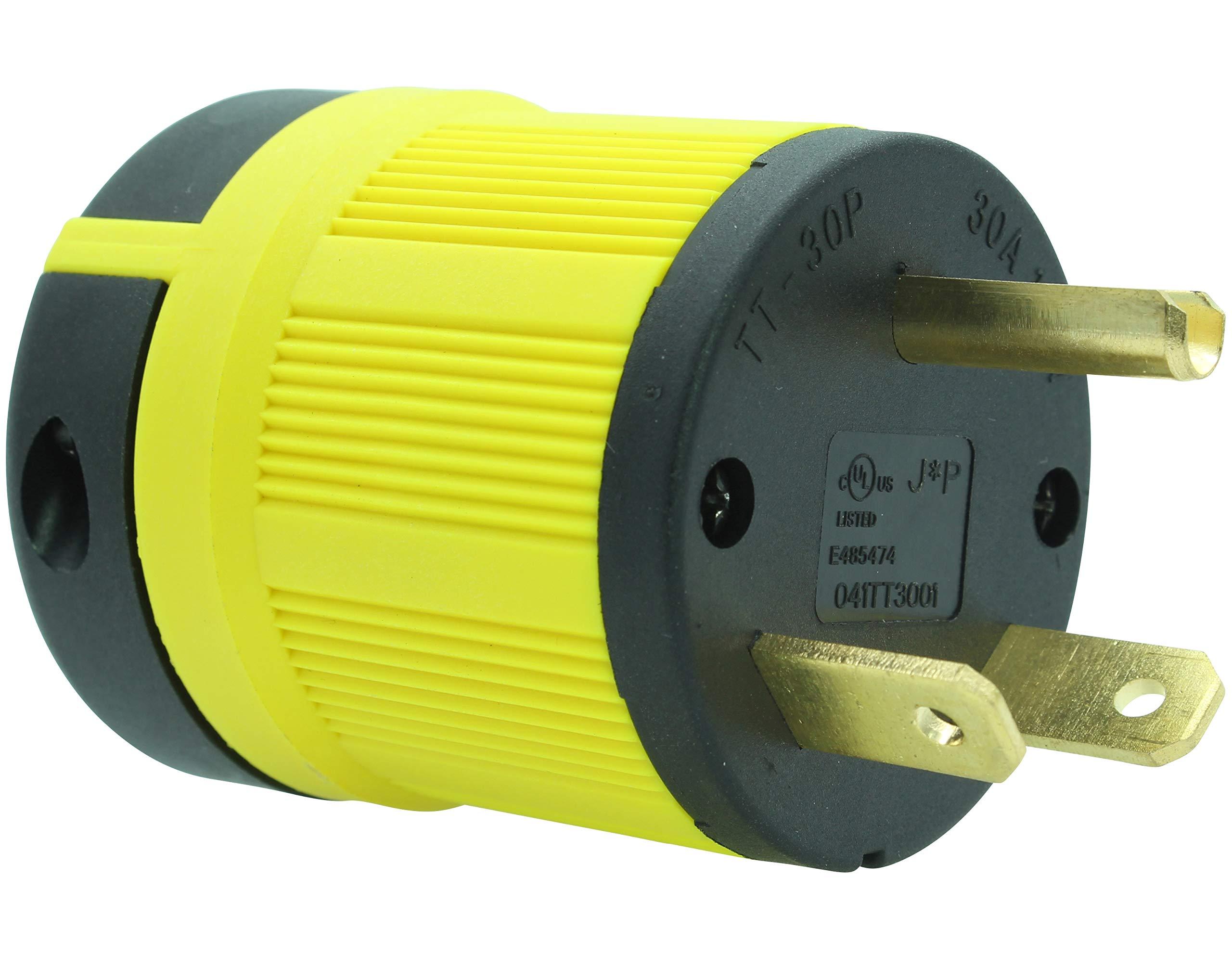 Journeyman-Pro NEMA TT-30P, 30 Amp, 125 Volt, Straight Blade Male RV Trailer Plug Connector, Black/Yellow Industrial Grade, Grounding 3750 Watts Generator TT30 (TT30P+TT30R COMBO YLW)
