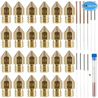 EAONE - Boquillas de latón para impresora M6 3D con 10 agujas de ...
