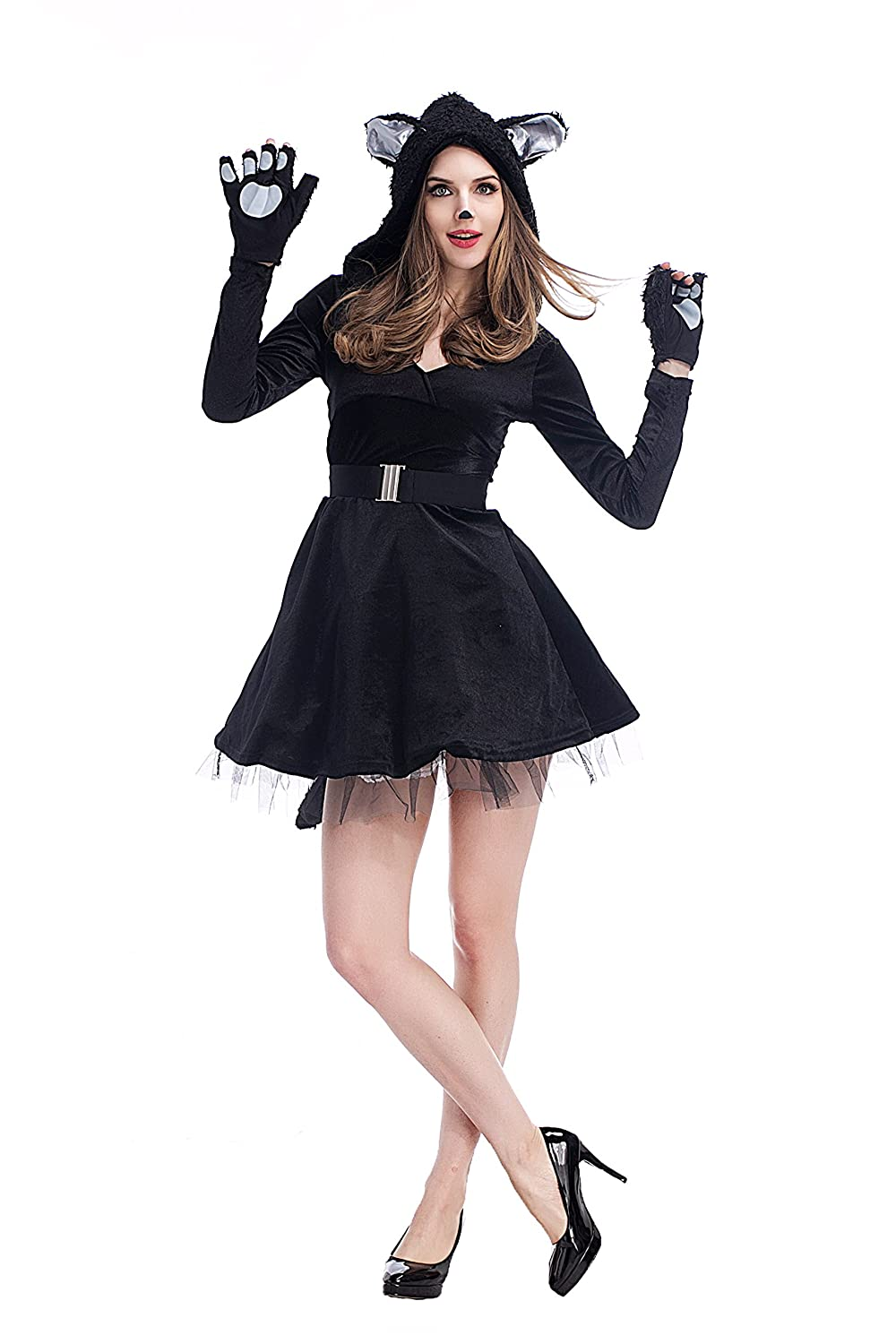 Amazon.com: PINSE Sexy Black Cat Animal Short Halloween Costumes: Clothing
