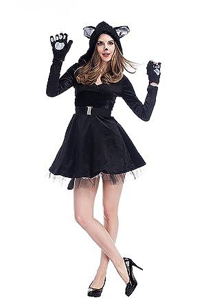 xiemushop- Disfraz de Gato para Mujer Vestido Cosplay Catsuit Halloween Carnaval: Amazon.es: Ropa y accesorios