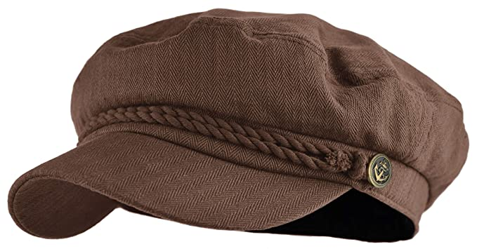 265f94bde3e Classic Newsboy Cap Greek Fisherman Sailor Cap Fiddler Cotton Hat (Brown)