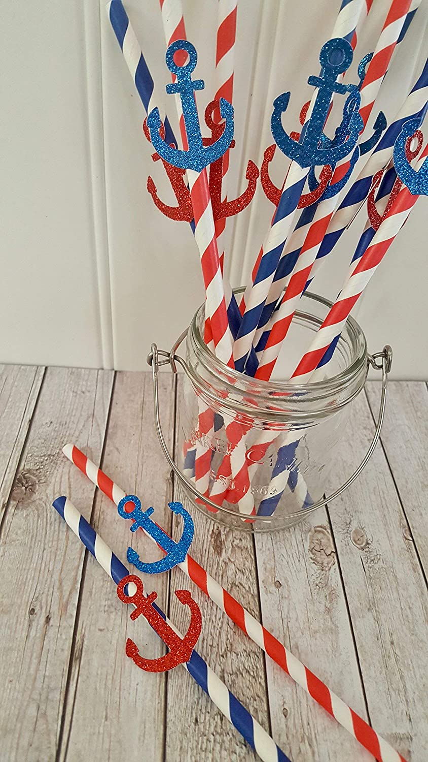 Nautical Anchor Paper Drinking Straws
