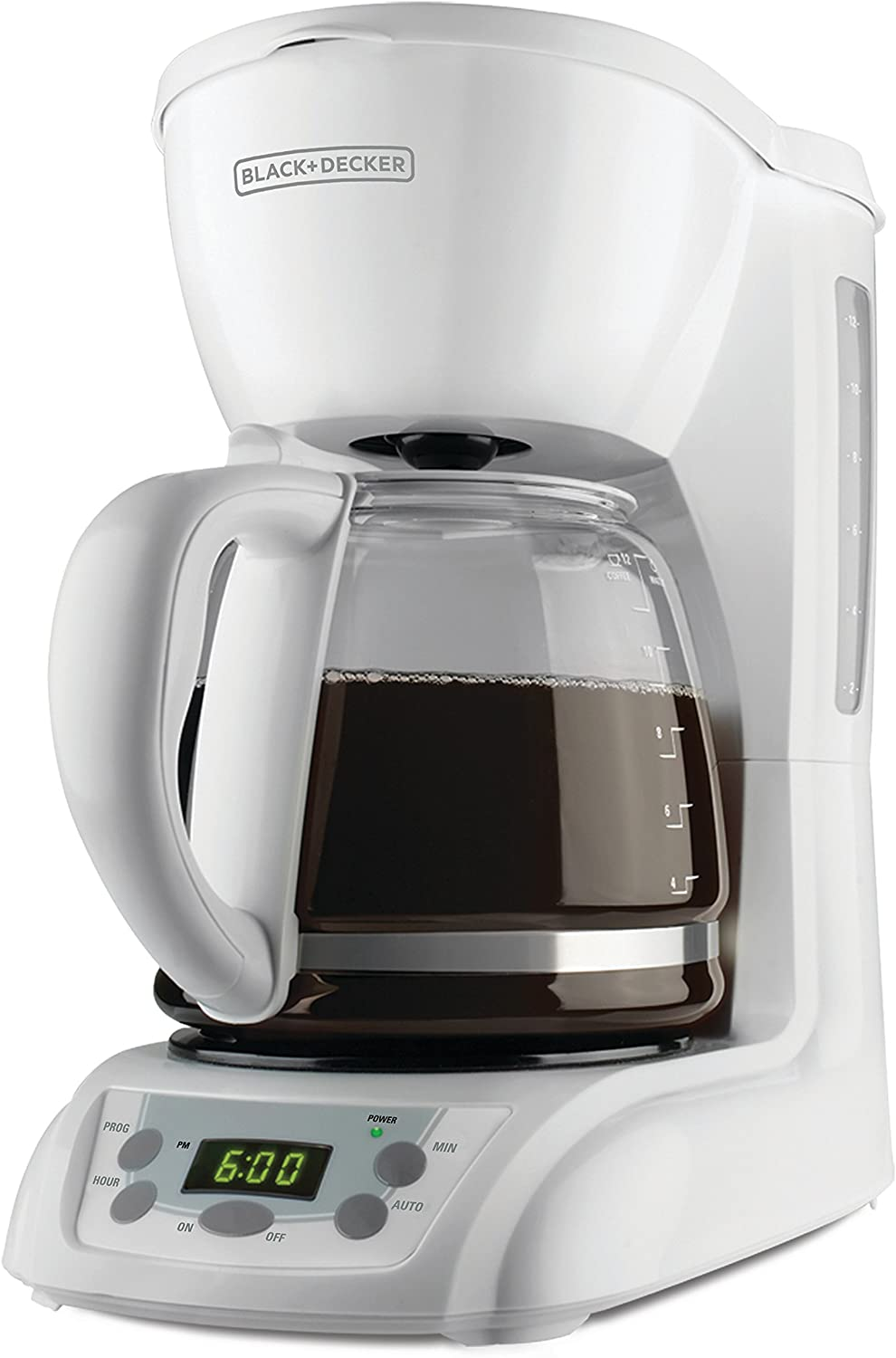 BLACK+DECKER 12-Cup Programmable Coffeemaker with Glass Carafe, White, DLX1050W
