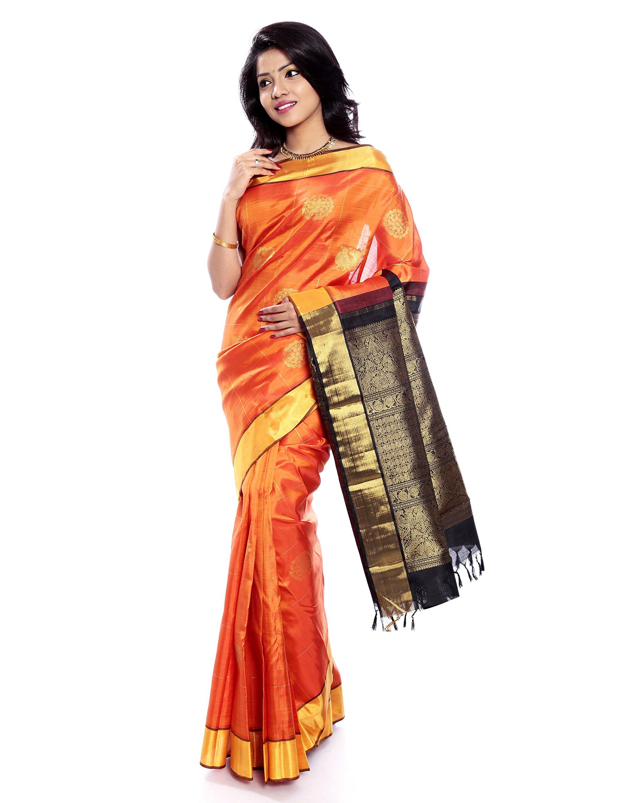 Mandakini — Indian Women's Kanchipuram - Handloom - Pure Zari & Pure Silk Saree (Orange ) (MK207) by Mandakini (Image #1)