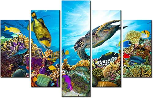 Xlarge 5 Piece Underwater World Canvas Wall Art Painting Sea Turtles Tropical Fish Swim on Coral Reef