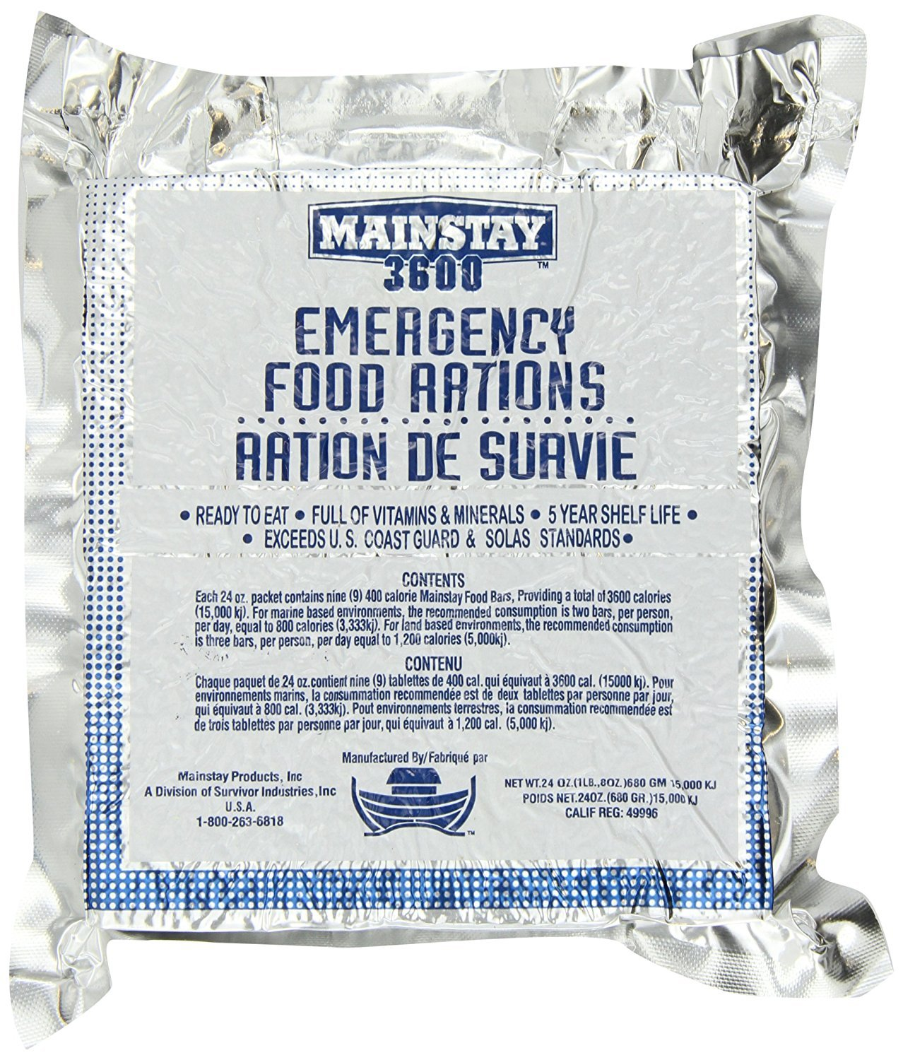 Mainstay Emergency Food Rations - 3600 Calorie Bars (Single) by Survivor Industries