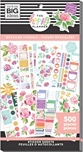 The Happy Planner Value Pack Sticker Sheets - Scrapbooking Supplies - Detailed Florals Theme - Multicolor - Great for Journals, Scrapbooks & Albums - 500 Stickers