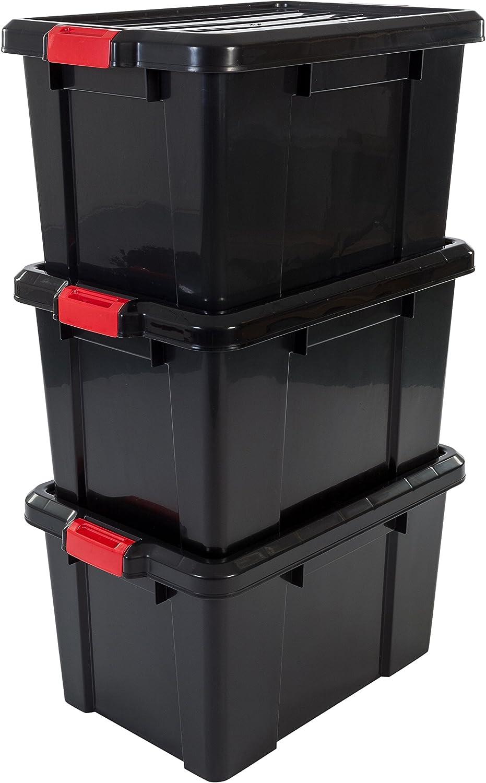 Iris Ohyama 135741sk-450Power Box Set de 3cajas de almacenamiento de plástico negro 59 x 38,5 x 32 cm