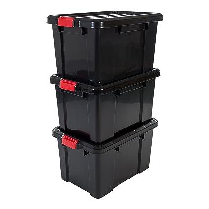 Iris Ohyama 135741 sk-450 Power Box Set de 3 cajas de almacenamiento de plástico