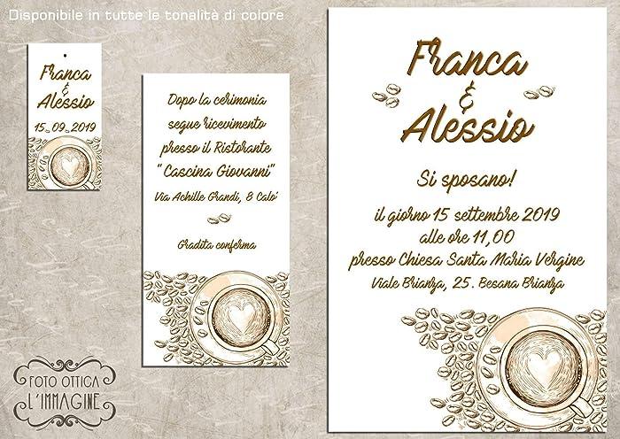 cfa6d26b635a Partecipazioni matrimonio personalizzate inviti nozze caffè 10 pz ...