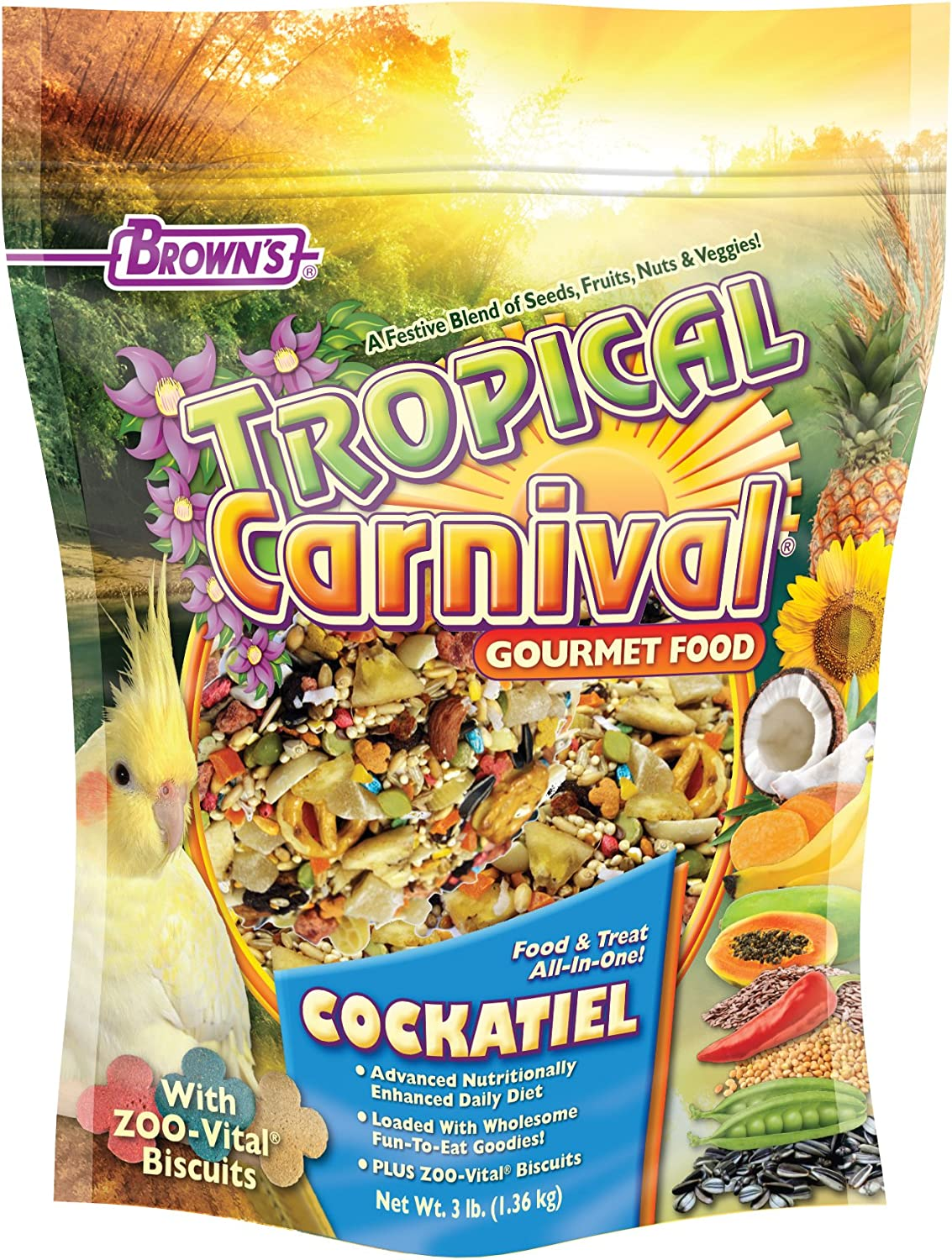 F.M. Brown's Tropical Carnival Gourmet Bird Food for Cockatiels, Lovebirds, and Conures, Vitamin-Nutrient Fortified Daily Diet - 3 lb