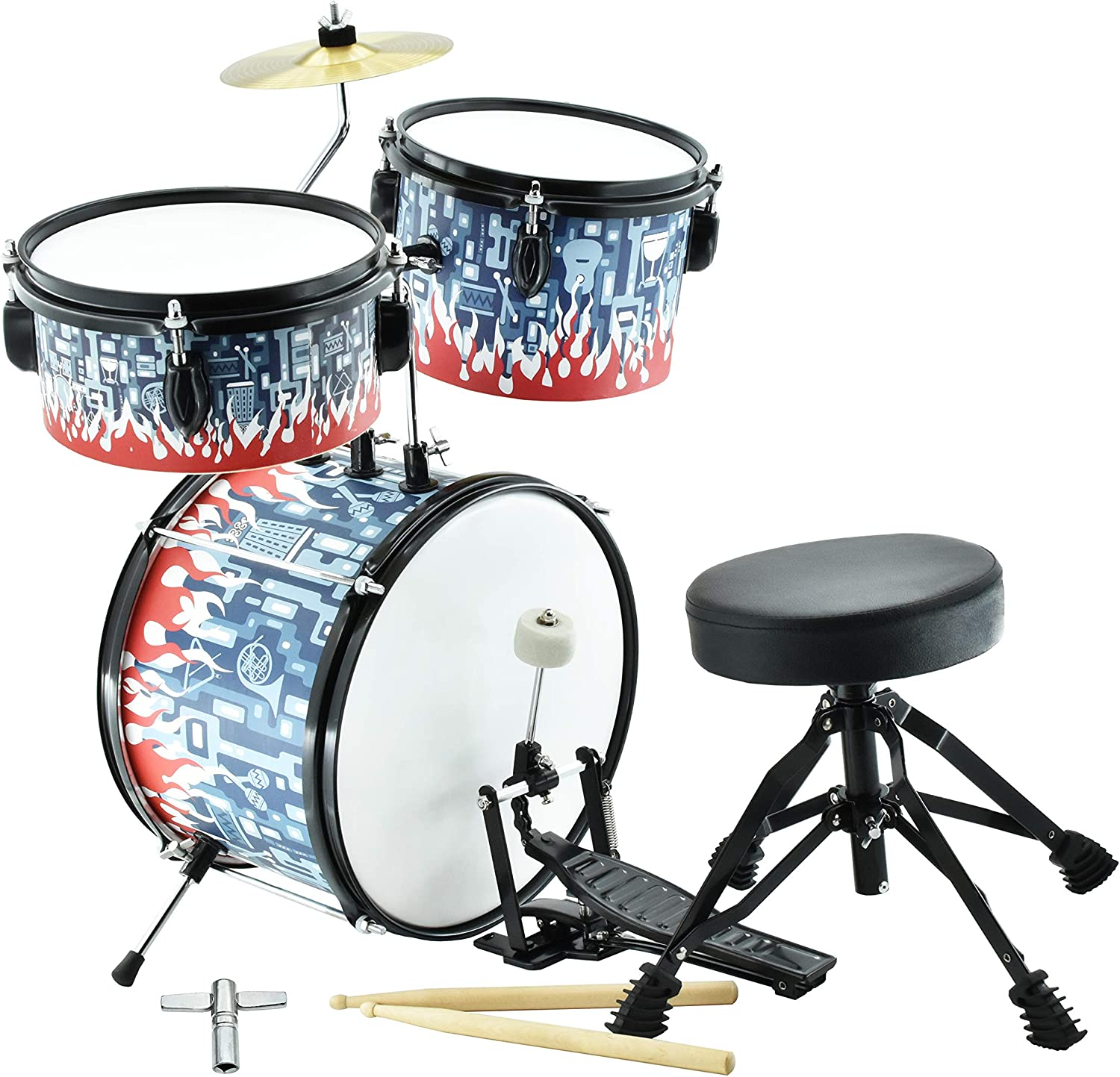 MUSICUBE Junior Drum Set, Kids Drum Set 10 inch 3-Piece with Adjustable Throne, Cymbal, Pedal & Hardwood Drumsticks, Fire Flower Painted Model