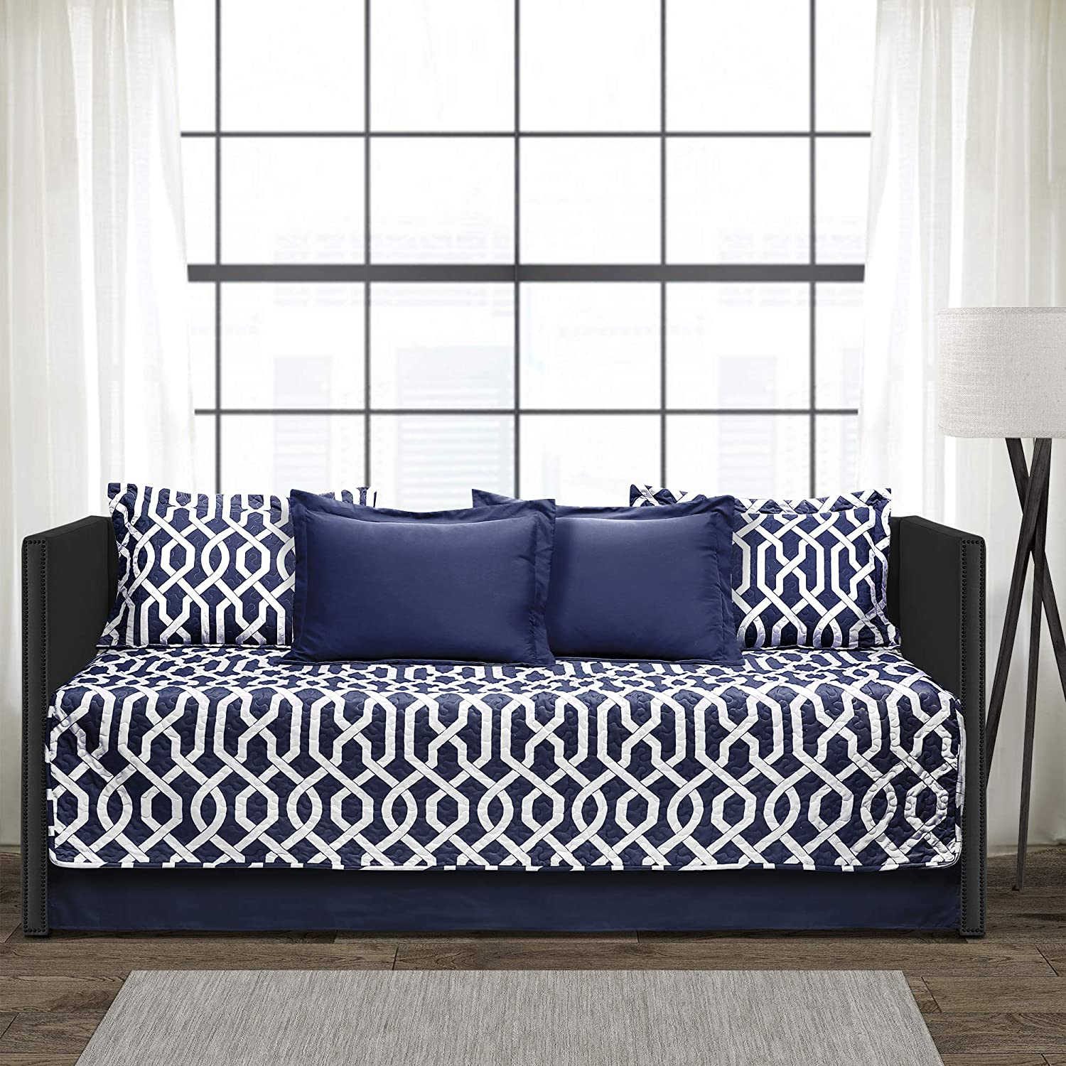 "Lush Decor Edward Trellis Patterned 6 Piece Daybed Cover Set Includes Bed Skirt, Pillow Shams and Cases, 75"" X 39"" Navy and White"
