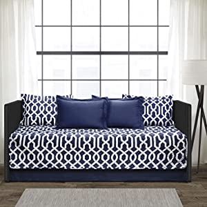 """Lush Decor Edward Trellis Patterned 6 Piece Daybed Cover Set Includes Bed Skirt, Pillow Shams and Cases, 75"""" X 39"""" Navy and White"""