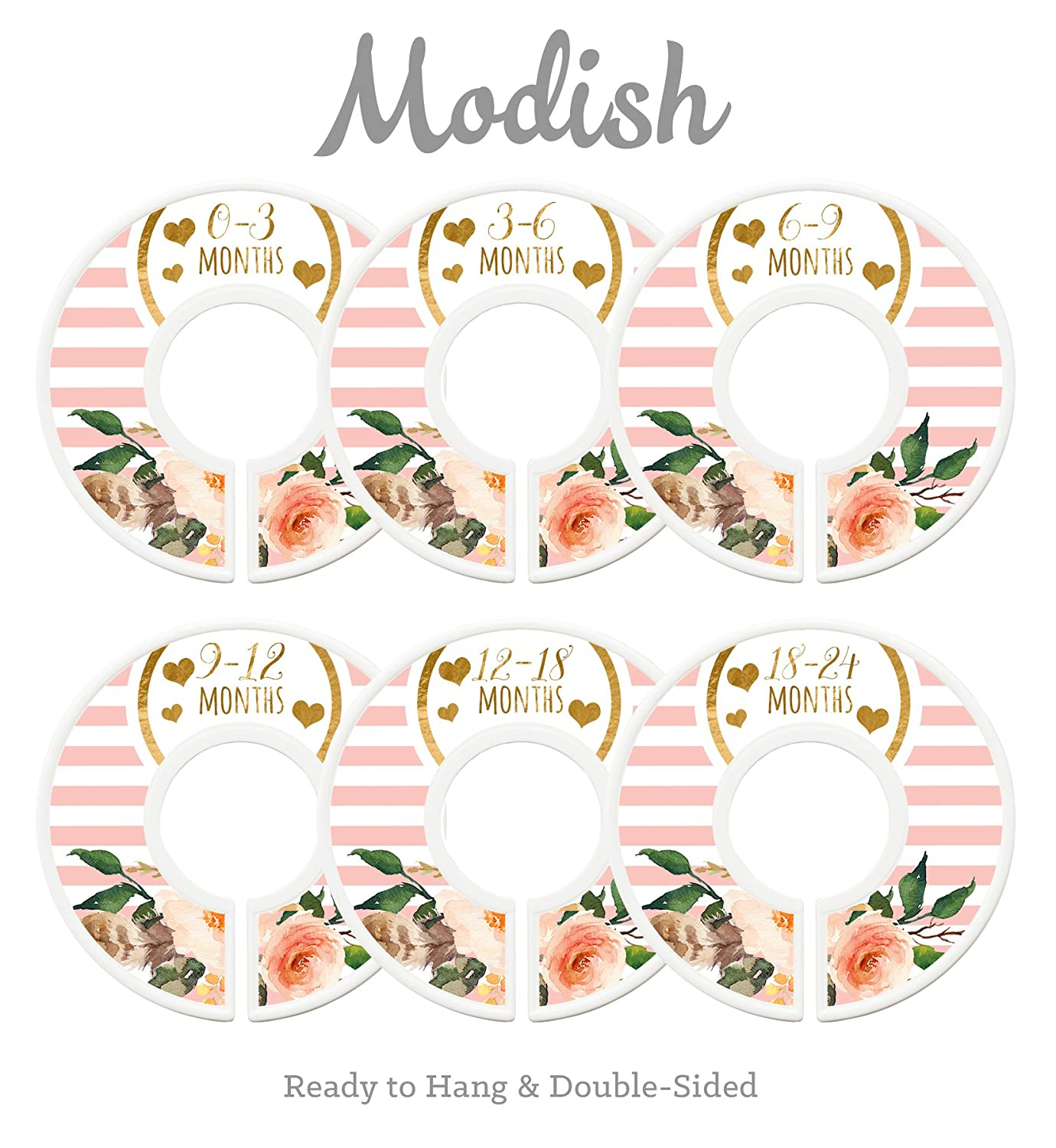 Modish Labels Baby Nursery Closet Dividers, Closet Organizers, Nursery Decor, Baby Girl, Hearts, Flowers, Pink, Stripes Inc. 687847980322