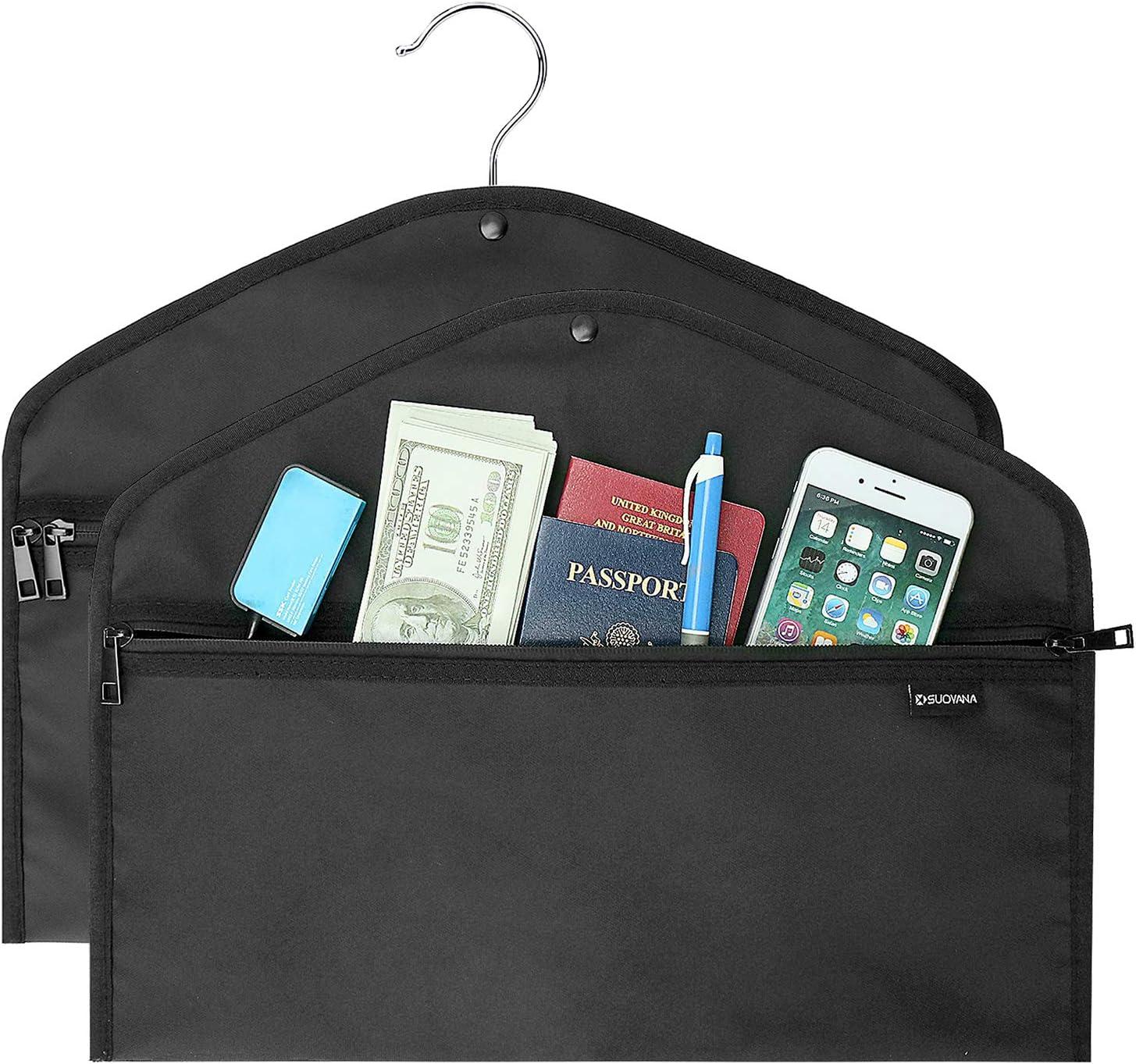 Hanger Diversion Safe Bag,Button Design Fit for Every Hanger,Fireproof Waterproof Double Zipper Keep Secret in Safe for Home,Travel (2 Pack)