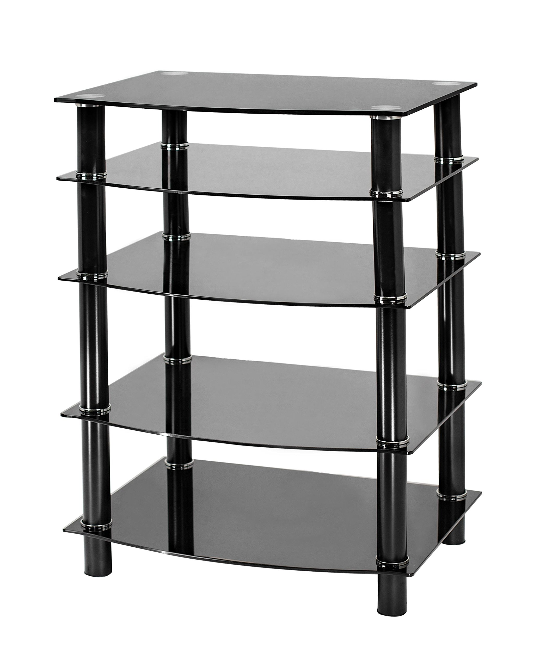 Naomi Home 5 Tier Glass AV Component Media Stand Black/Black