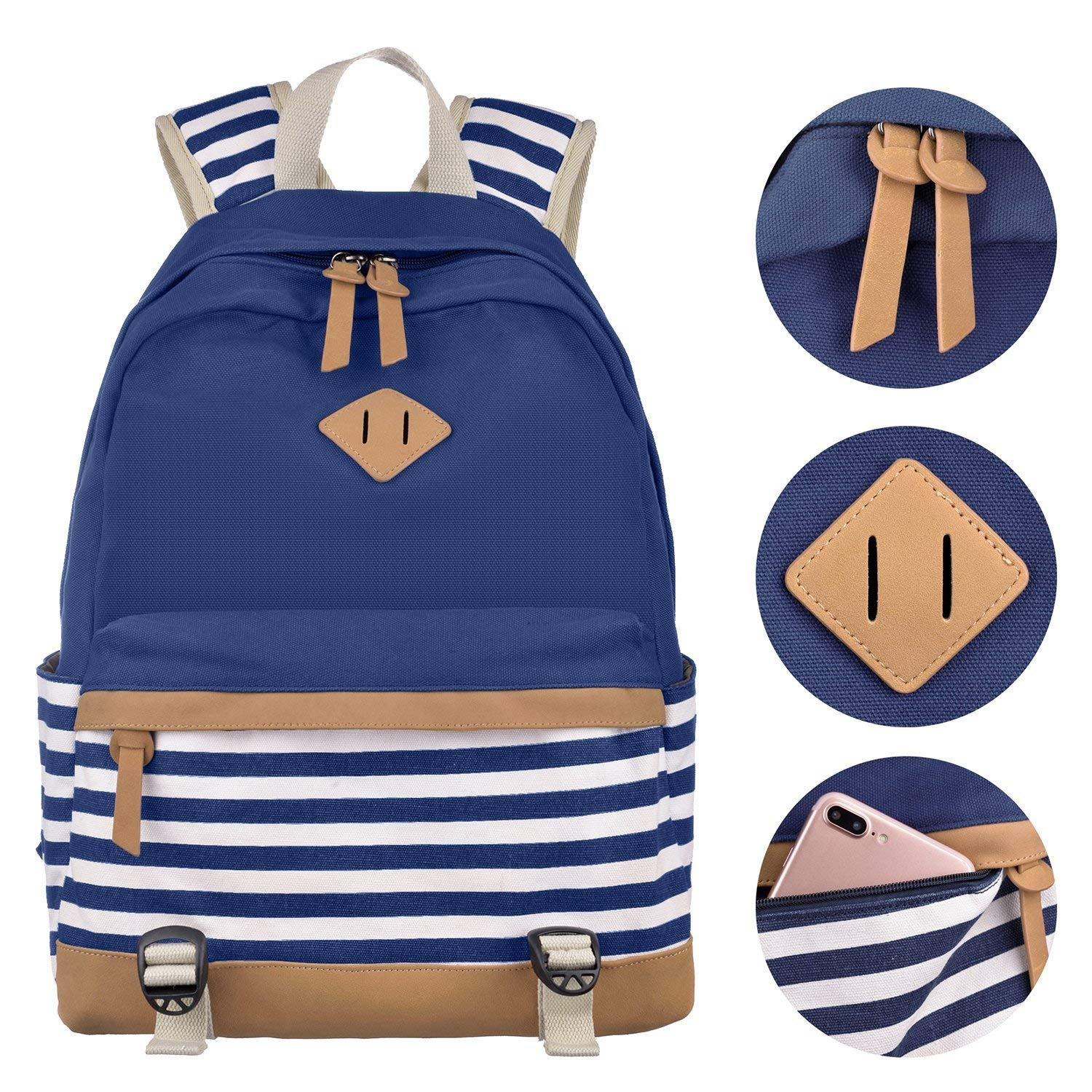 Amazon.com: Girls School Backpack Striped Canvas Backpack High School Bag Women Casual College Laptop Backpack Coin Purse Blue: Clothing