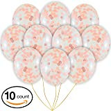 "Rose Gold Confetti Balloons | 10 Pack Large 18"" Rose Gold Foil, Light Pink and White Paper Pre-Filled 
