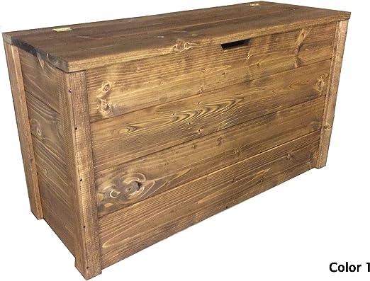 Baúl de madera 90 x 35 x 50h Nogal Oscuro DISPONIBLE TANBIEN A MEDIDA: Amazon.es: Jardín