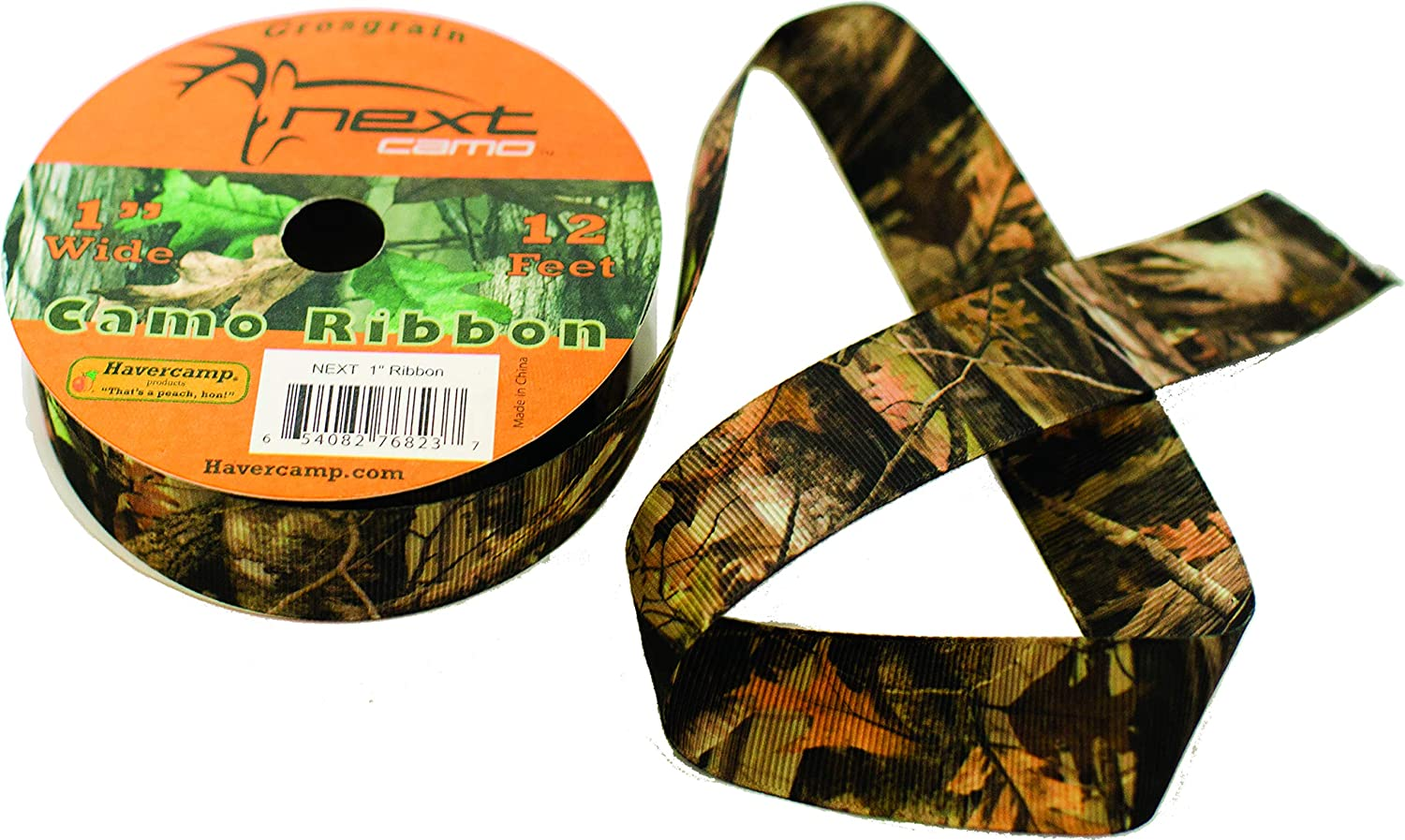 Havercamp Next Camo Grosgrain Ribbon Roll | 1 Count | Great for Hunter Themed Party, Camouflage Motif, Birthday Event, Graduation Party, Father's Day Celebration
