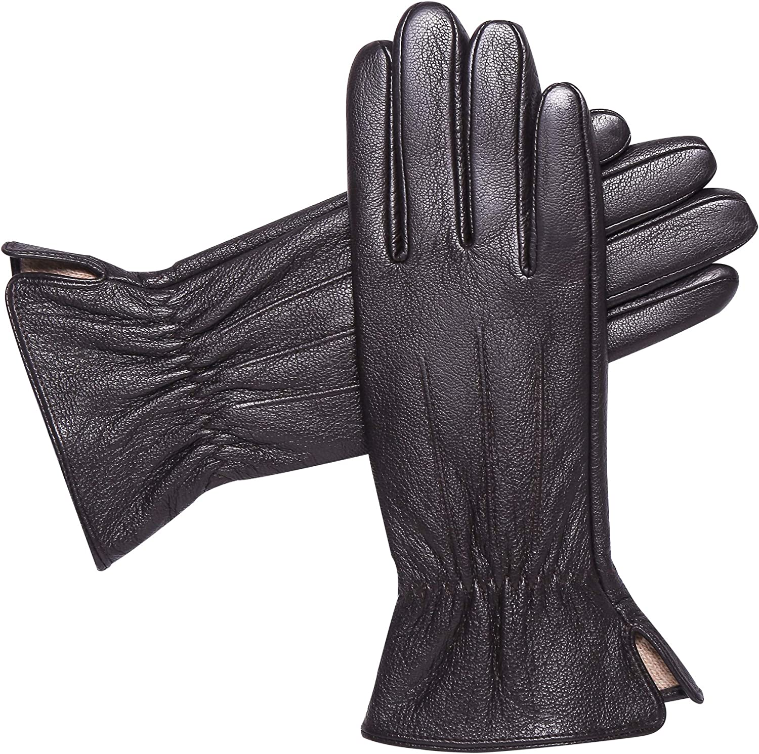Womens Luxury Cashmere Lining Genuine Leather Gloves - Alomidds Touchscreen Winter Gloves Warm Outdoor