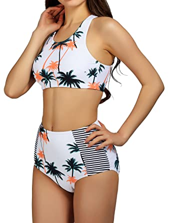 a1e243900c63f Amazon.com  Women s High Waist Bikini Set Bathing Suit 2 Piece Padding  Swimsuit Cute Print 2XL  Clothing