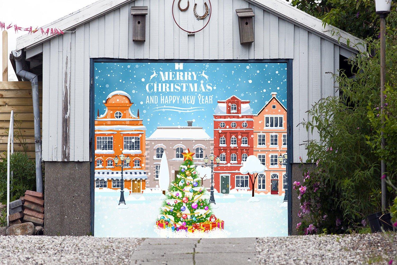Christmas Tree Single Garage Door Covers Billboard Full Color 3D Effect Print Door Decor Decorations of House Garage Holiday Mural Banner Garage Door Banner Size 83 x 96 inches DAV210