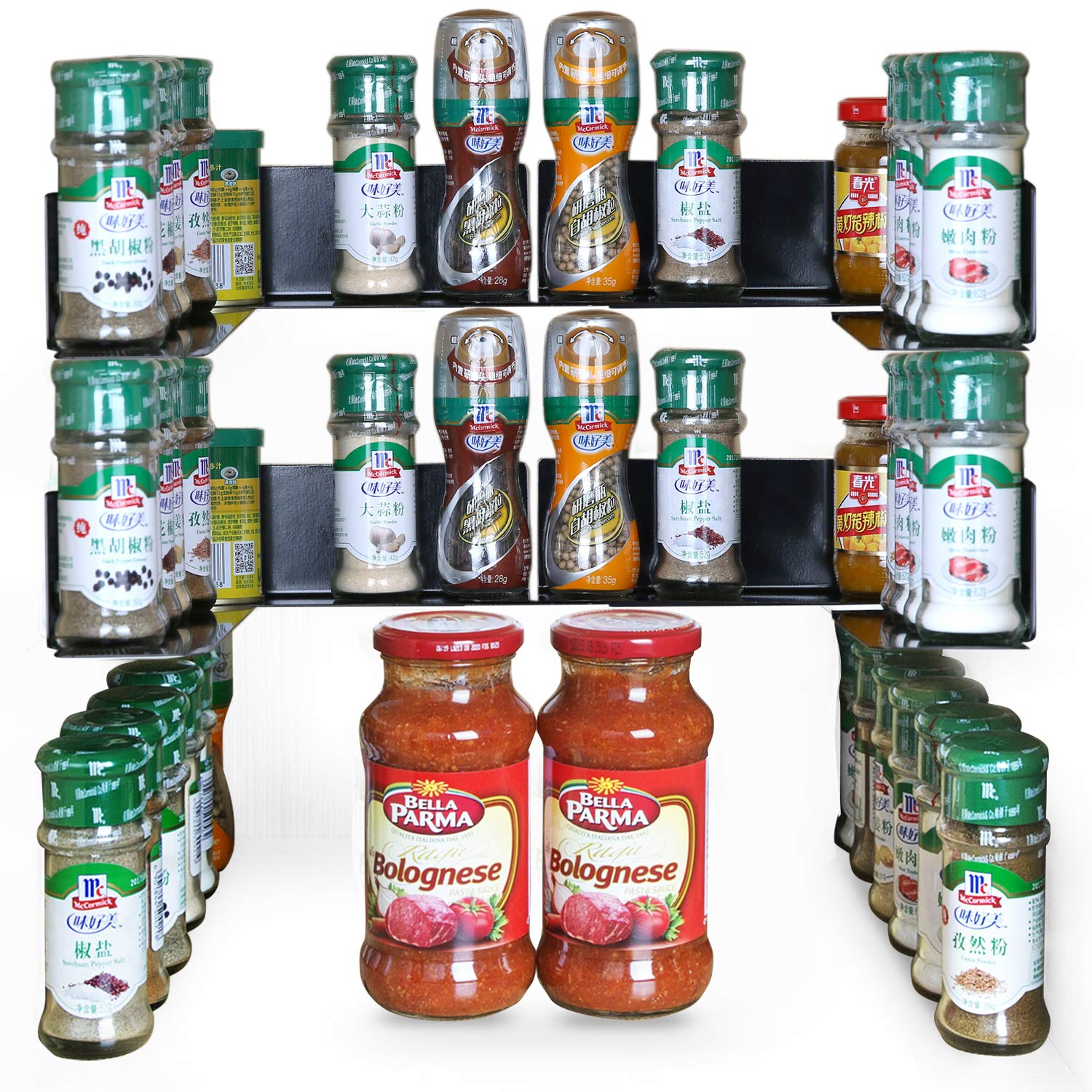 """TJ.MOREE Invisible Spicy Jar Shelf 3M Adhesive Spice Organizer Metal Stackable Kitchen Cabinet 8.9"""" Length (8 pack)"""