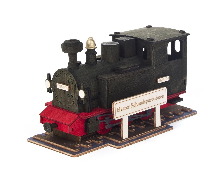 Dregeno Räuchermann Räucherlok Harzer Schmalspurbahn SEIFFEN 17 cm – Original erzgebirgische Handarbeit, Weihnachts-Dekoration