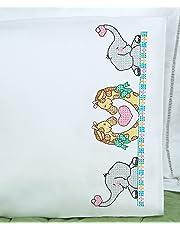 Jack Dempsey Funda de Almohada Estampada para niños con Borde Blanco perlé, 1 Paquete, diseño de Arca de Noé