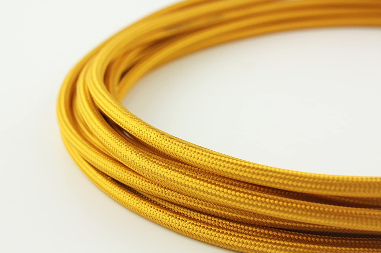 5 m 5//10 m Cordon rond 3 fils en couleurs vives vintage en tissu tress/é c/âble /électrique dor/é