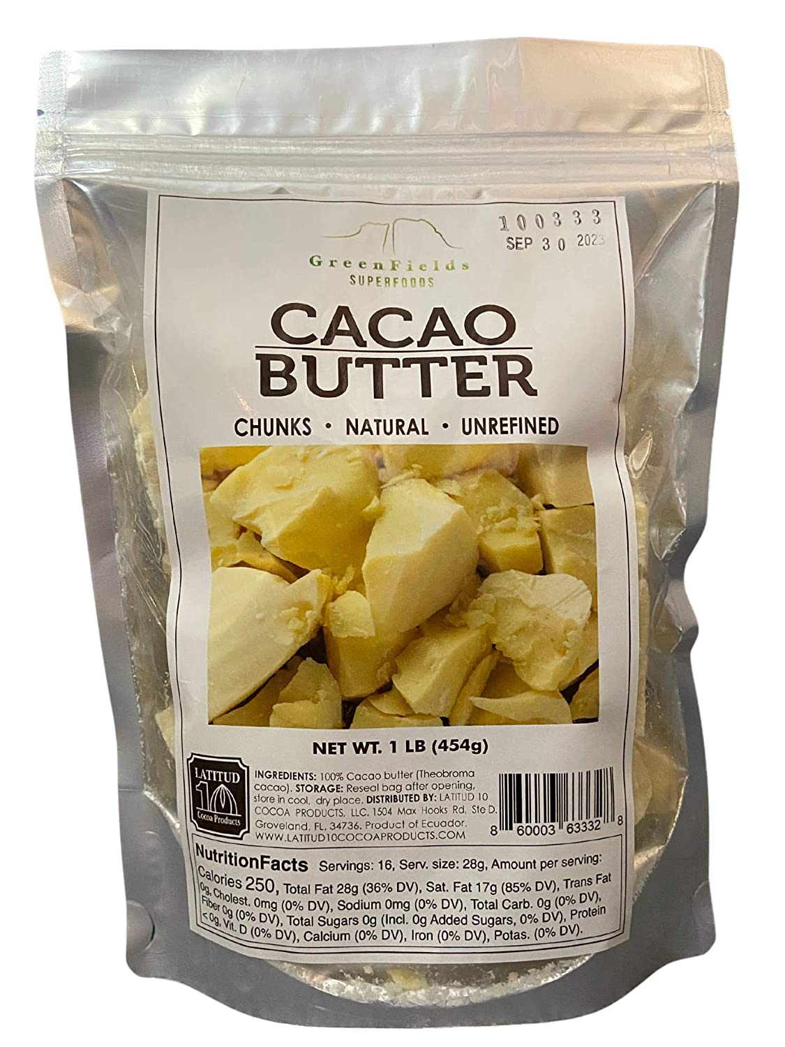 Greenfields Superfoods Organic Cacao Butter 1Lb, Natural, Unrefined