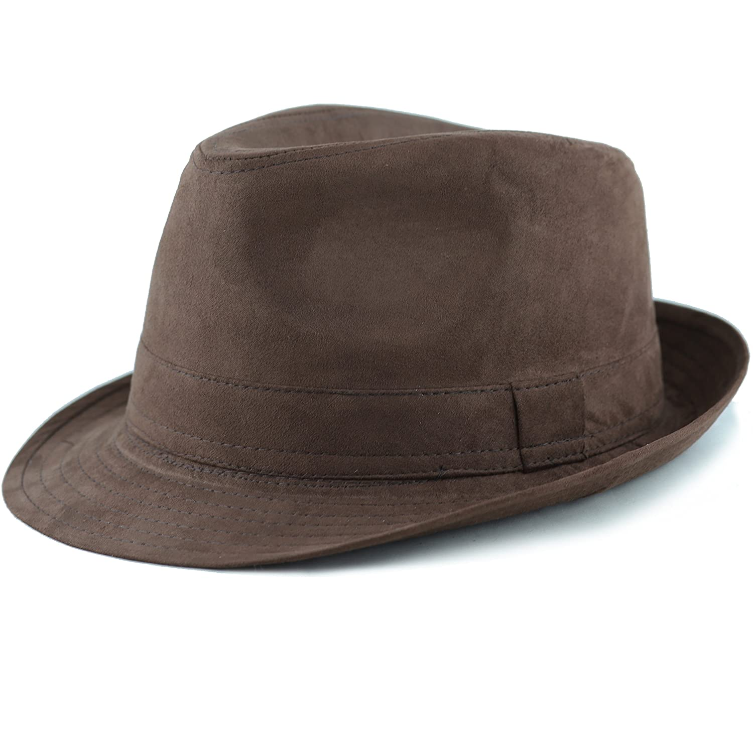 The Hat Depot Faux Suede Wool Blend Trilby Fedora Hats