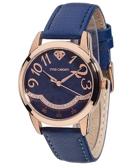 YVES CAMANI TOULON reloj de mujer cuarzo analógico correa cuero azul esfera azul YC1088-C