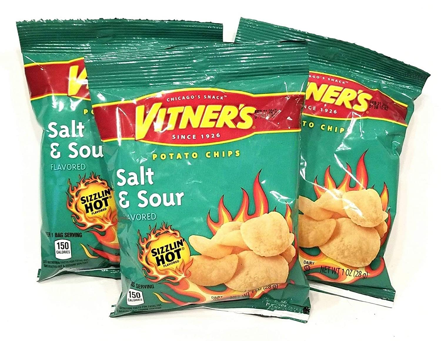 Vitners Sizzlin' Hot Salt & Sour Potato Chips A Chicago Original 10 Pack 1 oz Bags