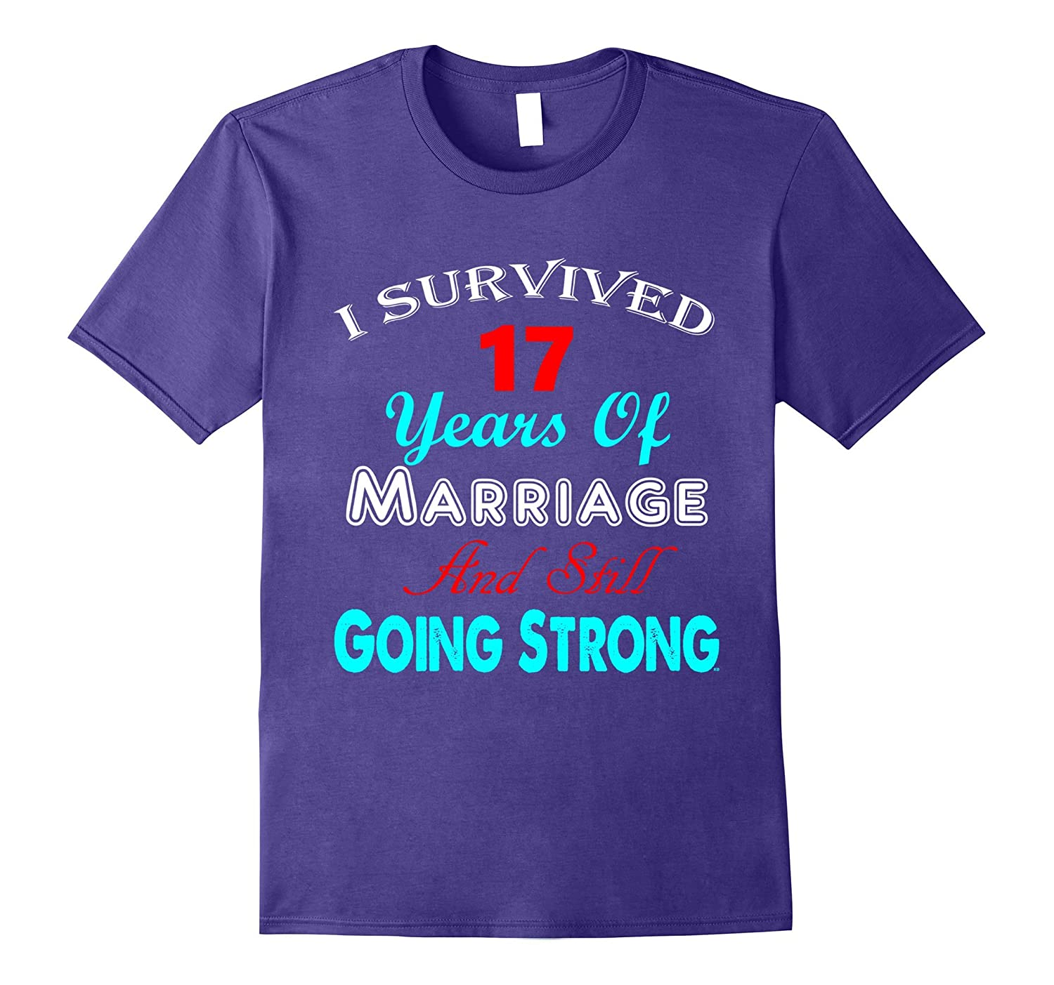 17th Wedding Anniversary Tshirt Marriage Husband Wife Couple-Art