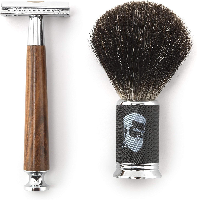 Rusty Bob - Maquinilla de afeitar y cepillo de afeitar hecha de pelo de tejón y el afeitado y cinco hojas de afeitar - Safety Razor - Set 10