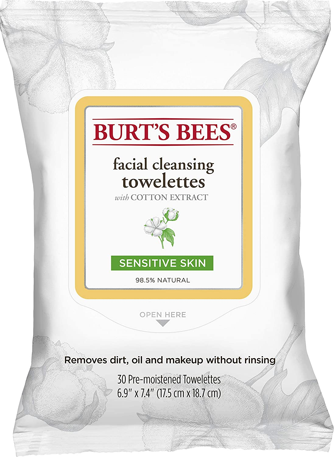 Burt's Bees Sensitive Facial Cleansing Towelettes with Cotton Extract for Sensitive Skin- 30 Count