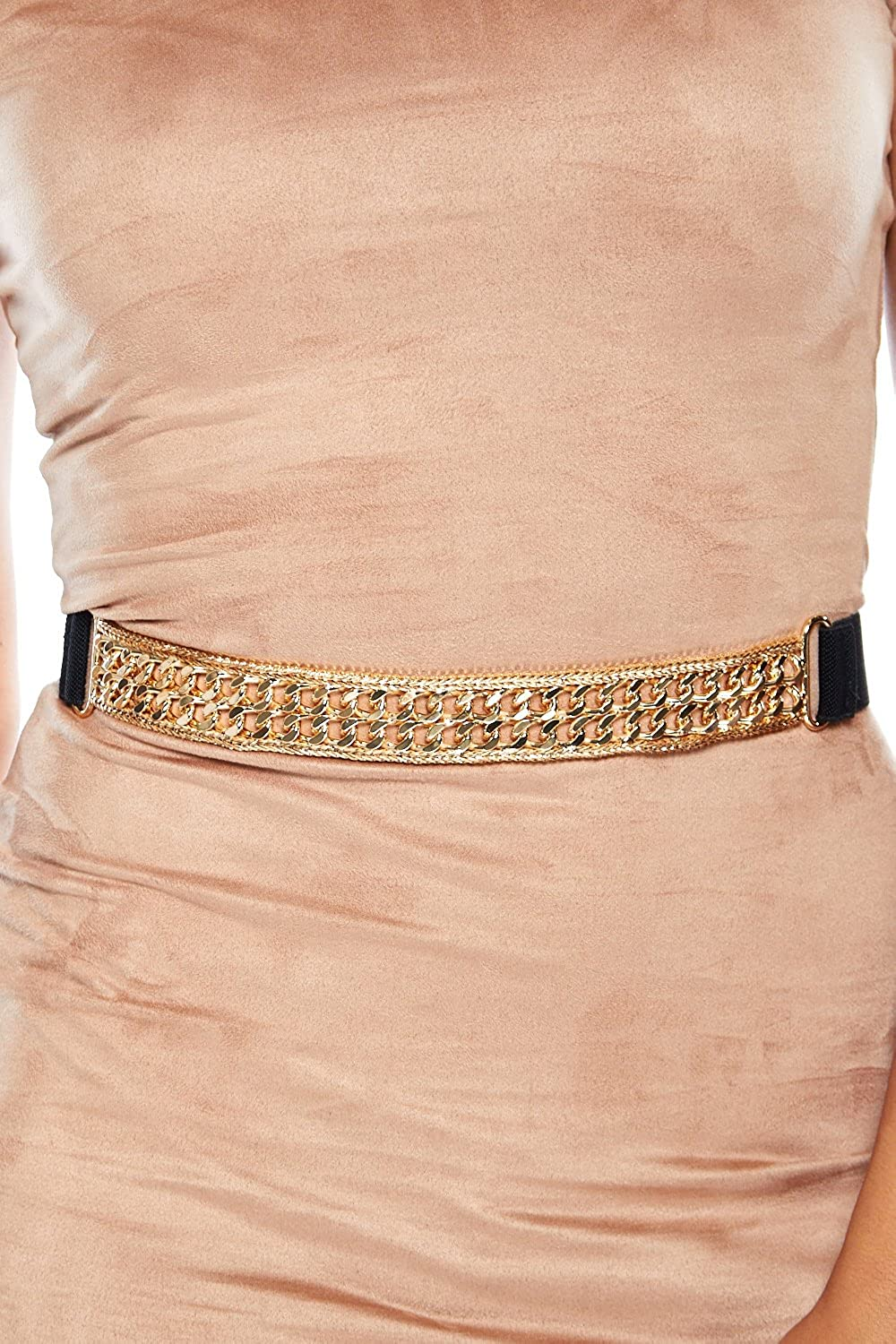Womens Thick Double Link Chain With Stretchy Band Belt IE3021