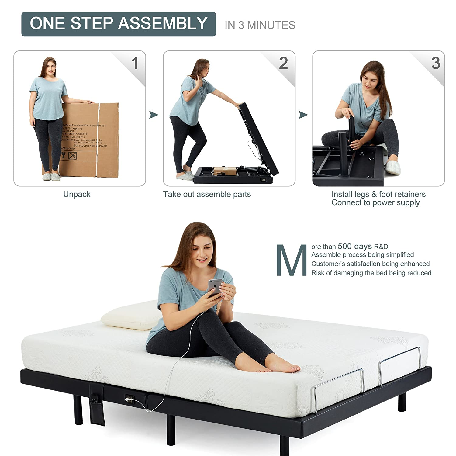HOFISH 2I Solid Wood Slat Adjustable Bed Frame - One-Step Assembly Customizable Positions Twin XL Adjustable Bed Base with Backlit Wireless Remote, ...