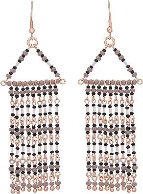 El Allure Brown and Rose Gold Preciosa Seed Bead and Metal Chain Fringe Curtain Drop Tassel Earring with Geometric Handmade Trendy Beadwork.