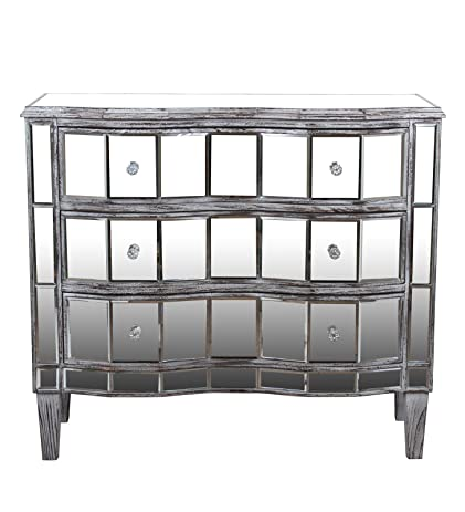 Merveilleux Privilege 63396 3 Door Mirrored Accent Stand Reclaimed, Washed Wood