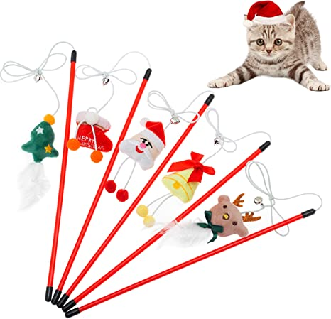 Amosfun 3pcs Cat Wand Toys Cat Teaser Wand Toys Christmas Stocking Decorations Interactive Catcher Teaser Toys for Kitten Cat