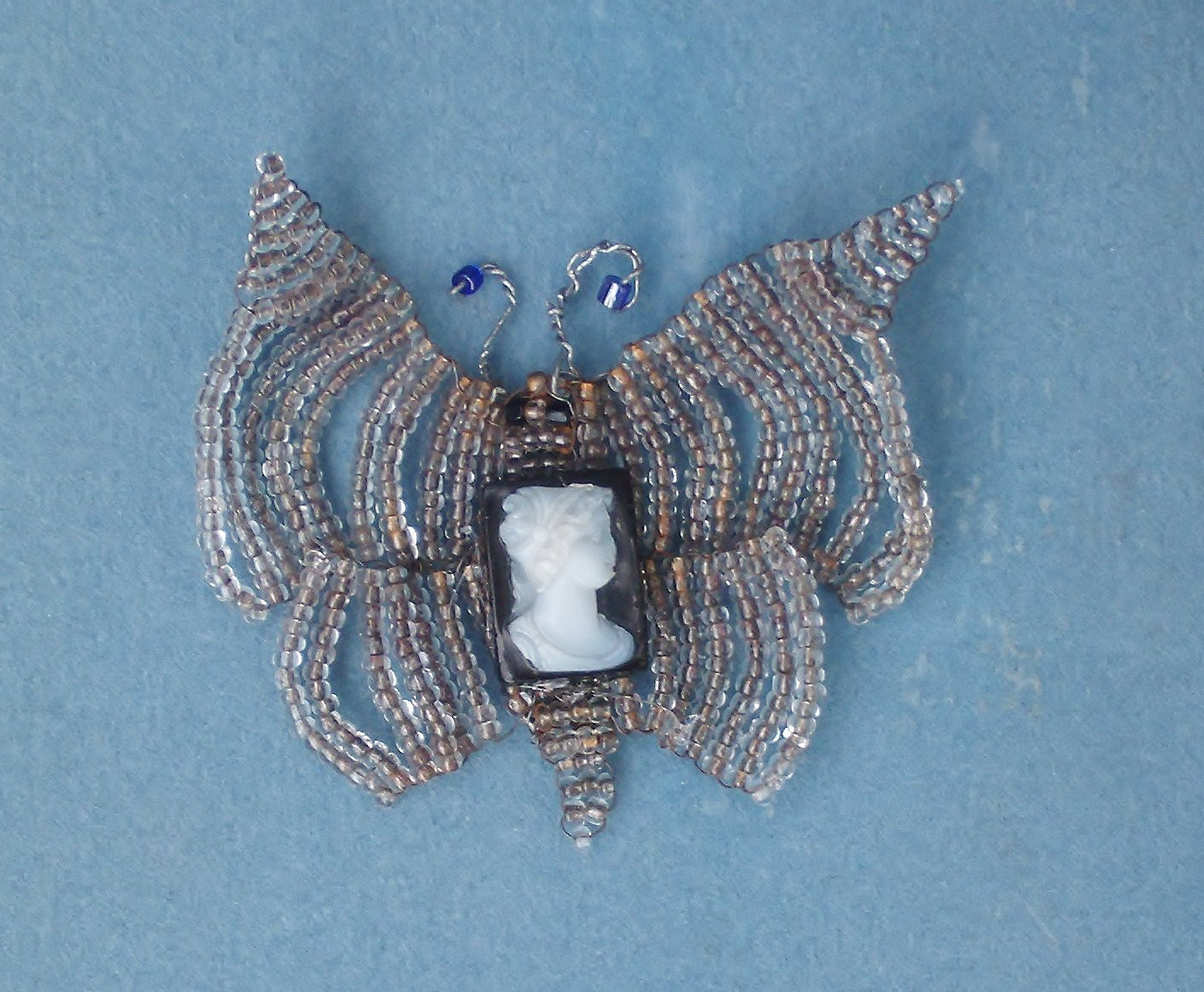 SALE Antique Victorian Beautiful Hand Carved Sardonyx Cameo on Fine Victorian 4 Winged Beaded Butterfly. One of a Kind!