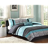 Comforter Bed Set Teen Bedding Modern Teal Black Animal Print Girls Bedspead Update Home (TWIN XL)