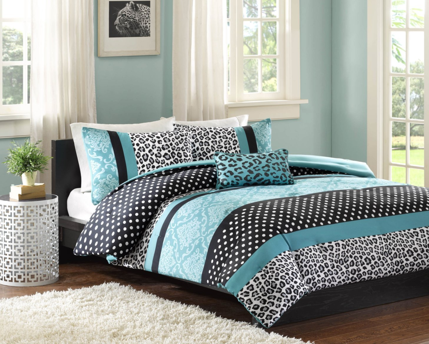 Comforter Bed Set Teen Bedding Modern Teal Black Animal Print Girls Bedspread