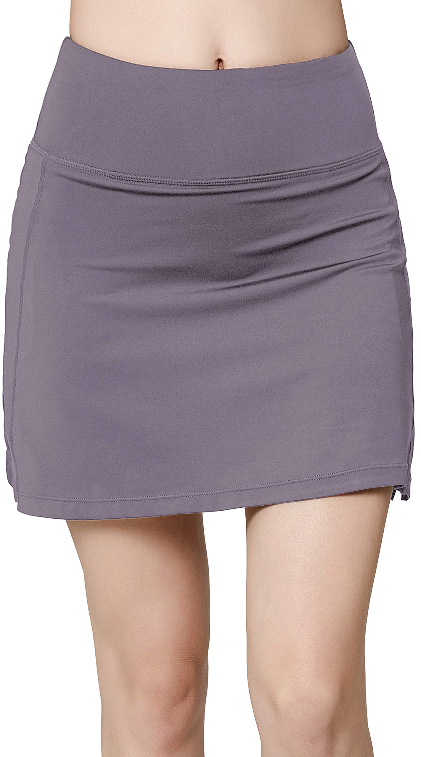 Women's Active Athletic Skirt Sports Golf Tennis Running Pockets Skort Light Grey M by Oalka