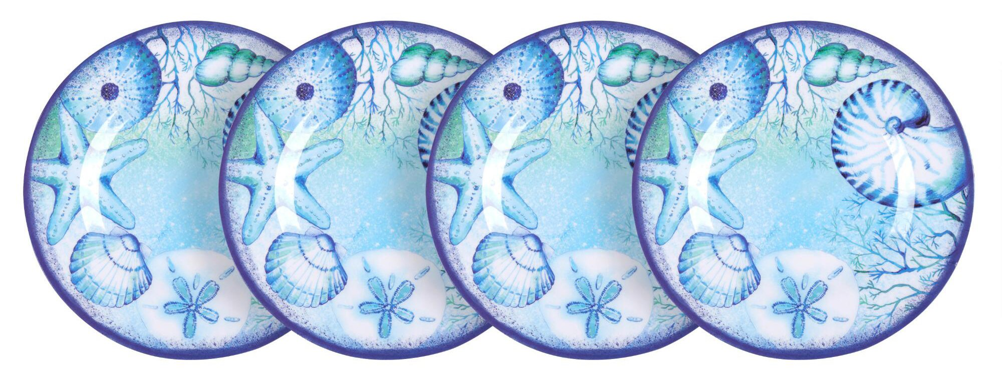 Nantucket Home Blue Seashells Melamine Salad Plates, Set of 4